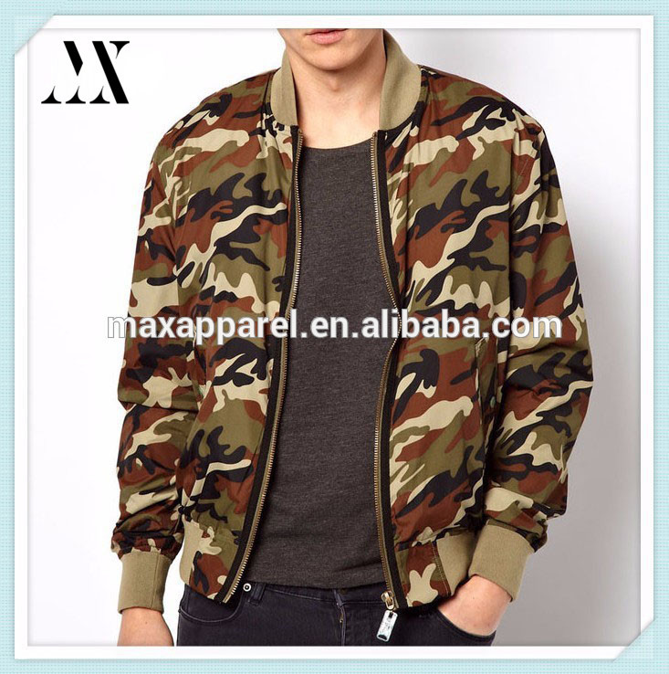 Wholesale OEM Factory Mens Camouflage Bomber jacket Camouflage Printing Jacket Camo Bomber Jacket