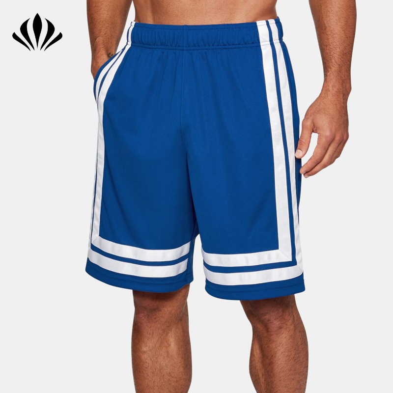 Mens 100% polyester dri fit basketball shorts OEM brand elastic waistband sports shorts