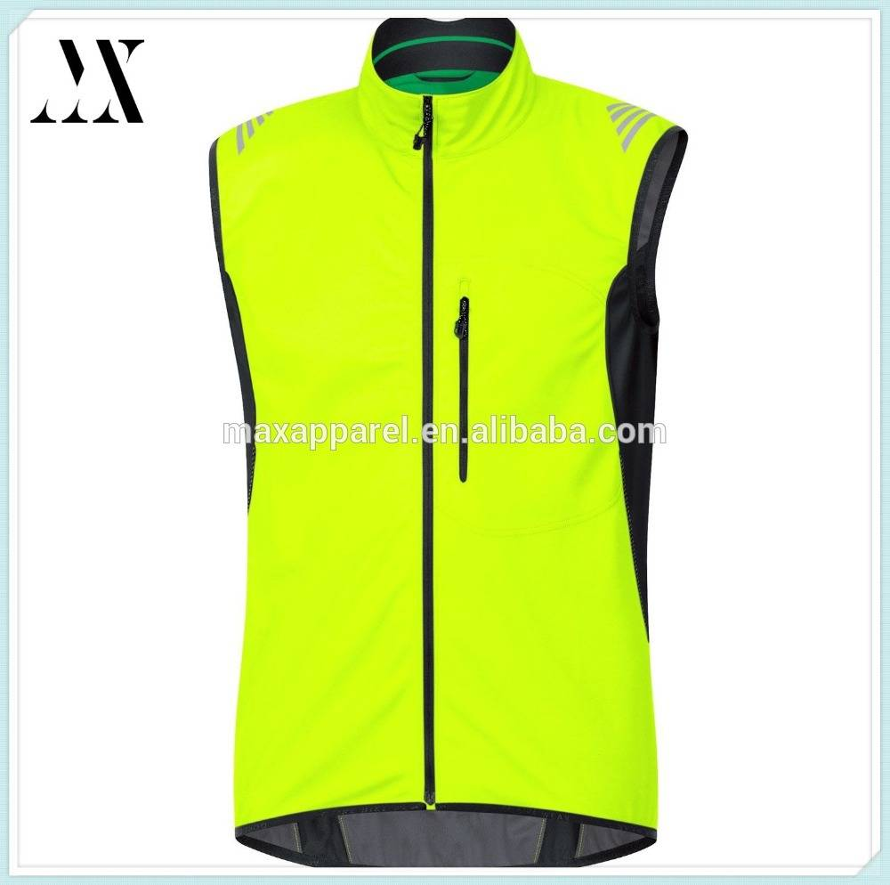 100% Polyester Sleeveless Front Zipper Long Back Bike Wear Men's Soft Shell Riding Jacket Vest