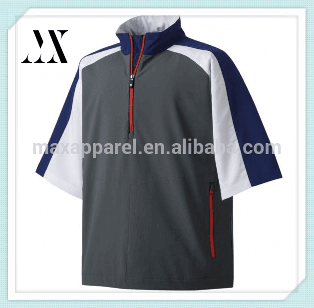 Wholesale T shirt Stand-up collar half zip athletic pullover Short raglan sleeve waterproof golf wear for men