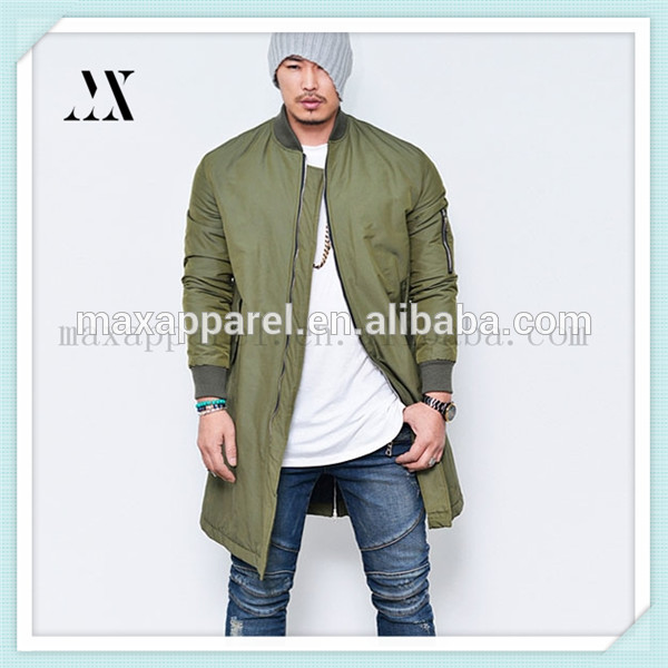 2015 Custom Men Nylon Long Extended Jackets Army Green Bomber Jacket In High Quality