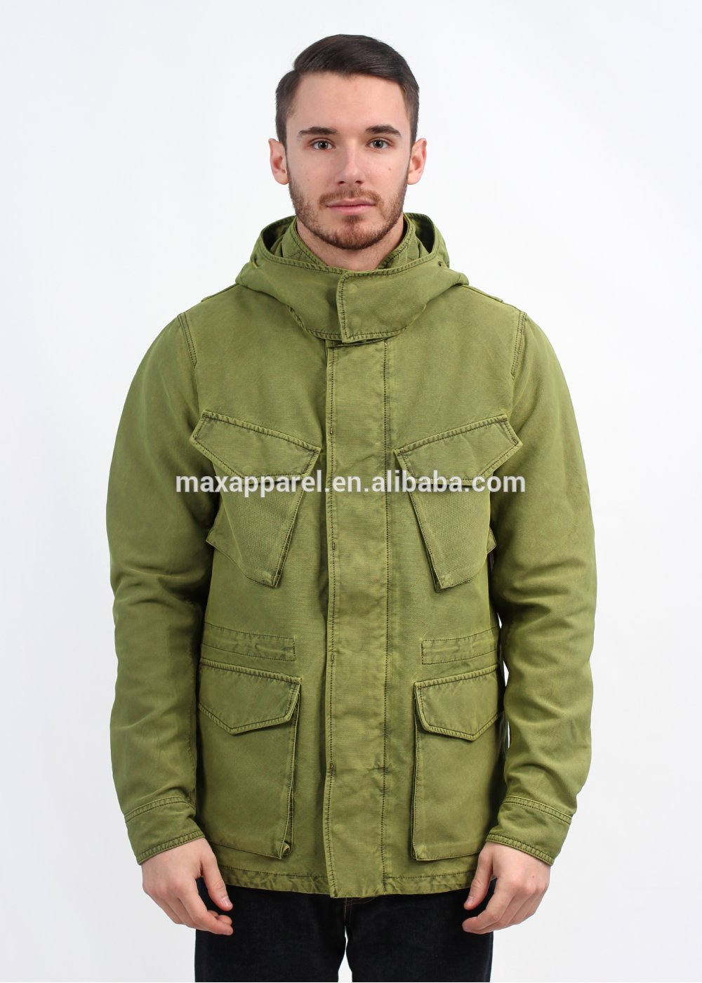 2015 Custom Made EU Fashion Mens Cotton/ Nylon Blend Field Jacket ,Multi Pockets Parka JacketWinter Parka Jacket