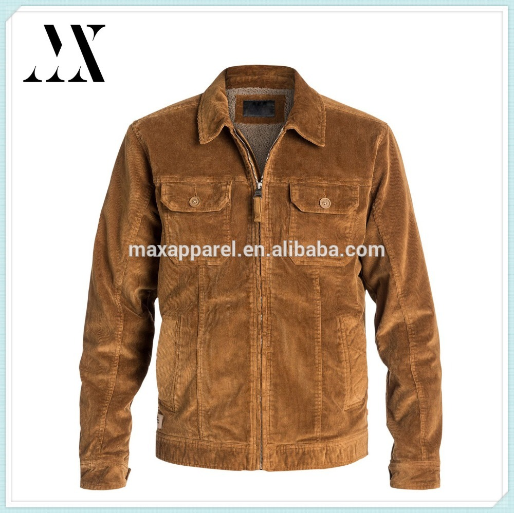 New Arrival High End Fashion Mens Brown Color Stretch Corduroy Jacket Wholesale From China Supplier at competitive Price