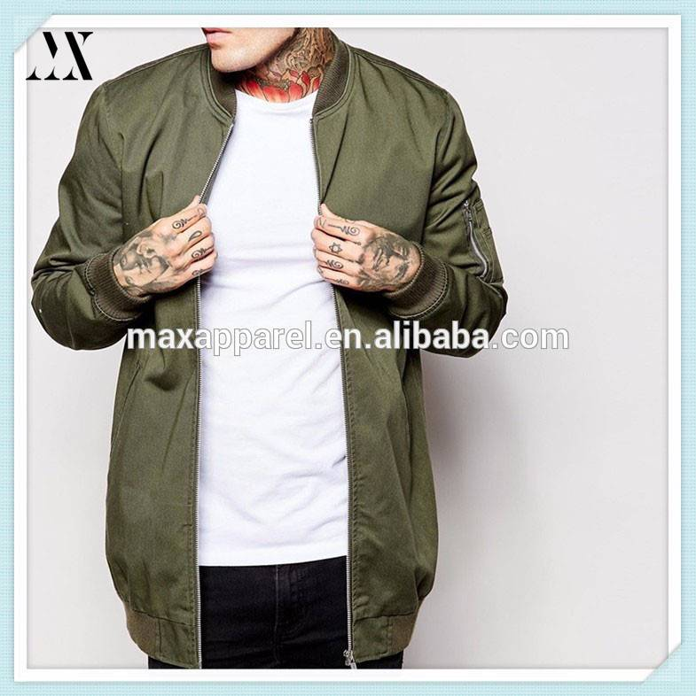 Custom Men Cotton Nylon Olive Long Extended Bomber Jackets In High Quality