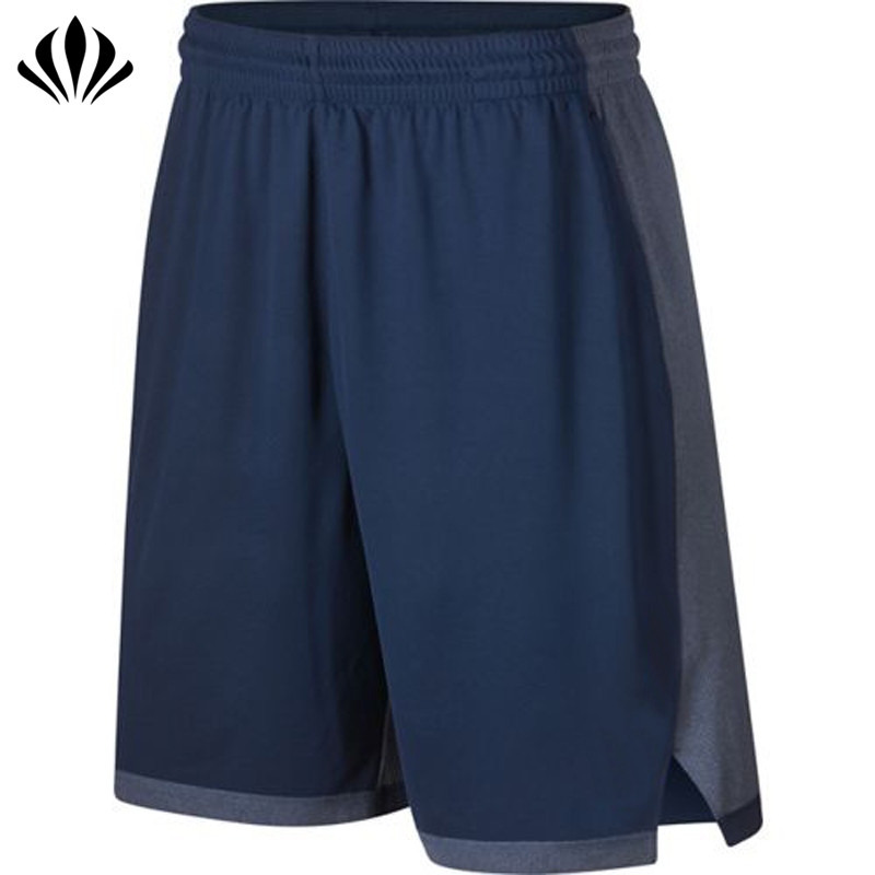 Men's 100%polyester moisture-wicking color block basketball sports shorts with inner waistband pocket