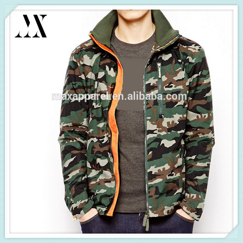Custom Fashion Double Zipper Mens Camouflage Printing Jacket Casual Camouflage Printed Jacket