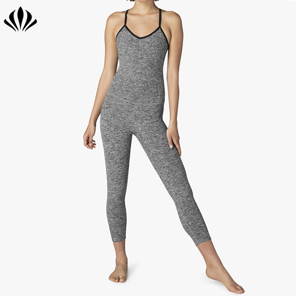 2018 custom active wear running fitness women one piece gym wear bodysuit yoga wear jumpsuit with long pants