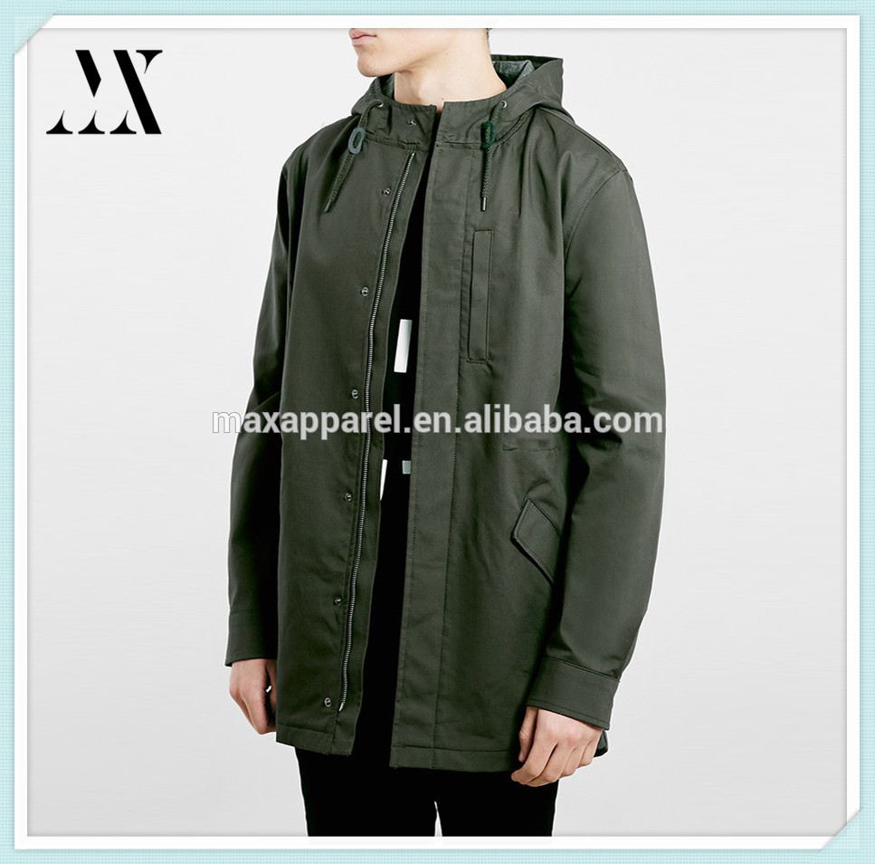 2018 hot selling lightweight olive fishtail parka cotton dry clean front zip parka