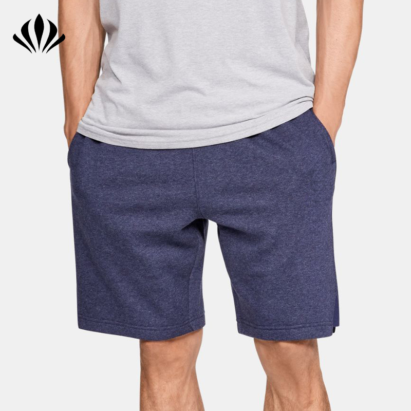 Mens custom soft brushed fleece sweat shorts ribbed waistband mens blank basketball shorts