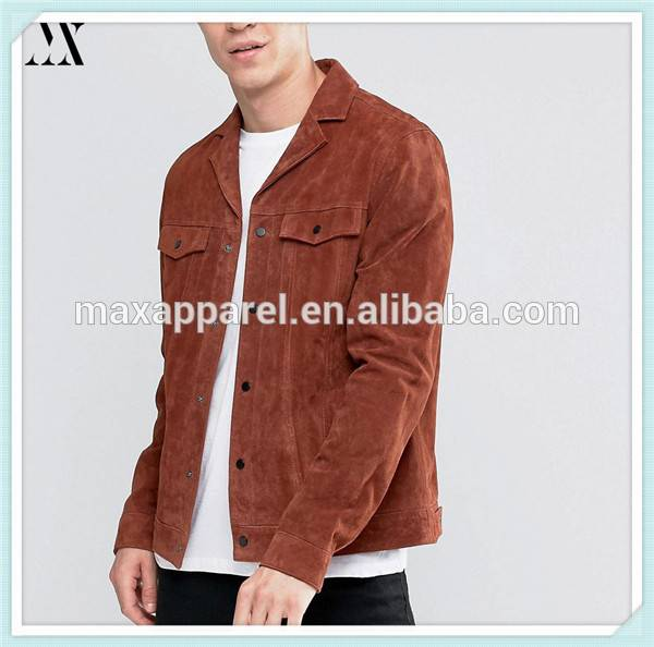 2016 Wholesale Man Jacket New Look Suede Jacket With Revere Collar In Rust