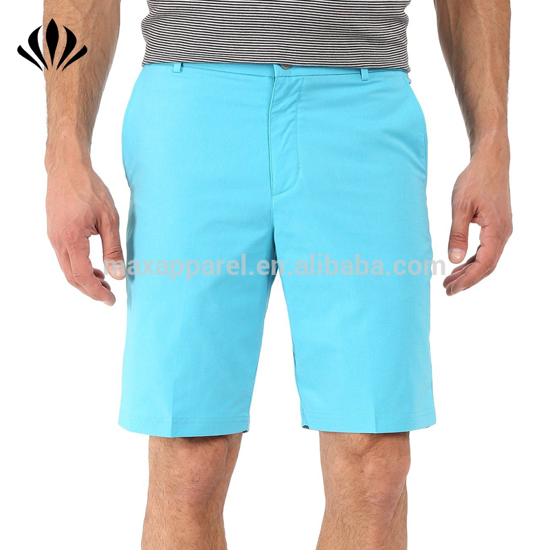 Mens 100% polyester dri fit blank golf shorts 4 pocket zip fly stretch woven sports shorts