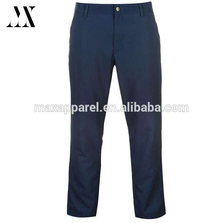 2017 Spring sports wear stretch fit 100% polyester quick dry button up waistband golf pants for men