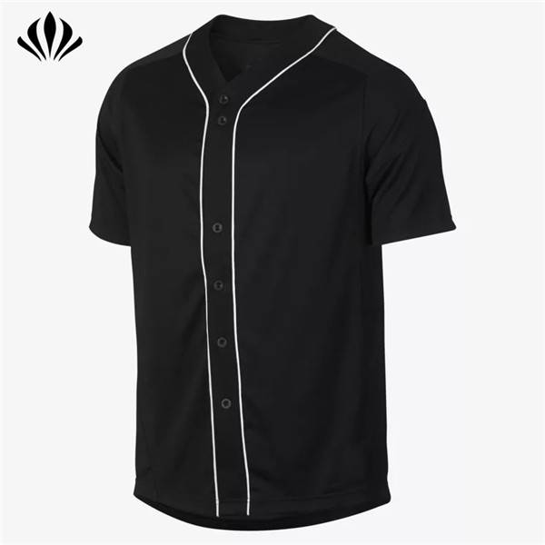 Custom cheap full button-front placket dry fit 100% polyester v-neck blank baseball jerseys wholesale