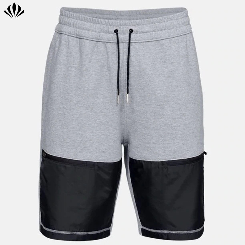 Men's ribbed waistband 4-way stretch Diamond ripstop fabric panel sport basketball shorts with front leg zipper
