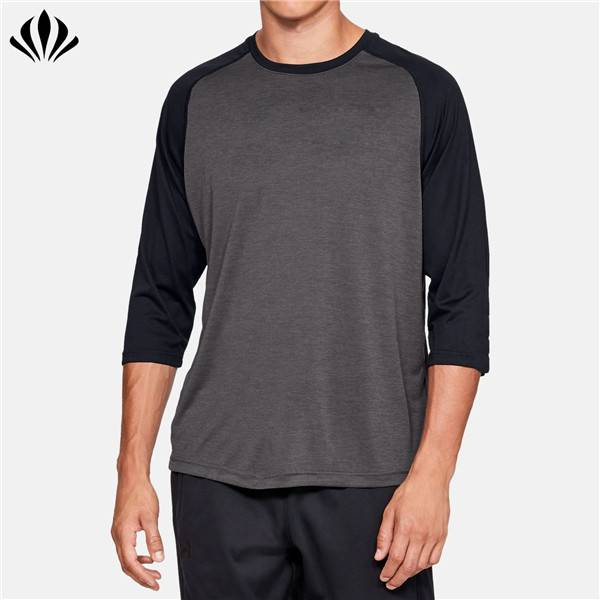 Private label wicks sweat 100% polyester 3/4 raglan sleeves baseball T shirt wholesale