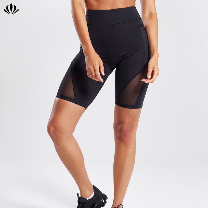 Women mesh panel breathable workout four way stretch high waist body-hugging fit cycling gym shorts