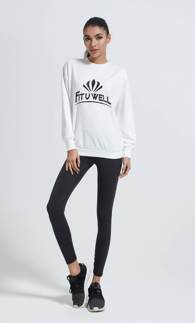 Nije oanpaste sweatshirt froulju fan fleece crewneck Relaxed fit hege printe sweatshirt detail pictures