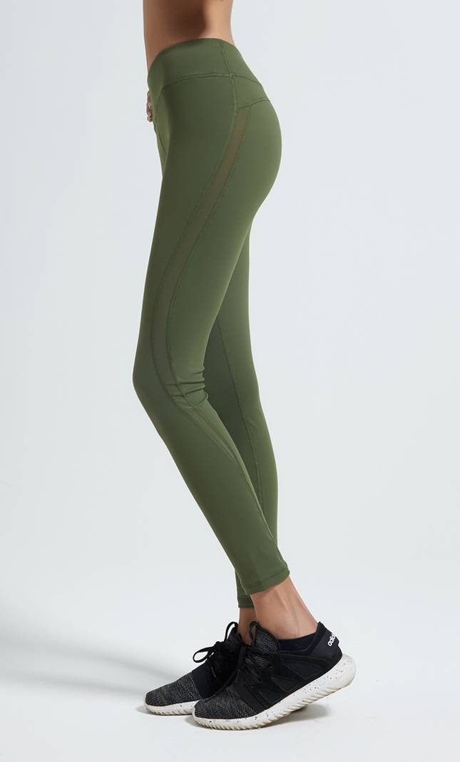 Wholesale army green high waist mesh panels full length yoga leggings sports leggings for women