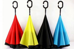 Solid colour upside down umbrella