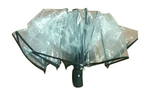 Auto open and auto close transparent folding umbrella