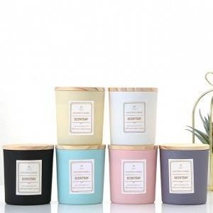 Custom luxury soy wax container scented candles in glass vessels jars