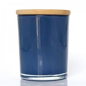 10oz Spraying polish glass candle jar with bamboo cover-Blue/Purple/White+Black