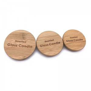 Customize logo bamboo/wood lids for candle jar
