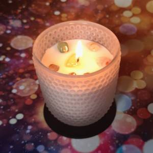 Decorative chakra scented soy candles with crystals in stock