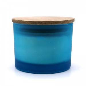 Soy wax candle with cotton wick-blue/white