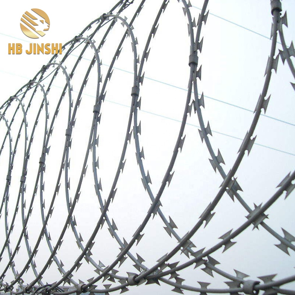 BTO-22 450MM  Galvanized Concertina Flat Wrap Razor Wire