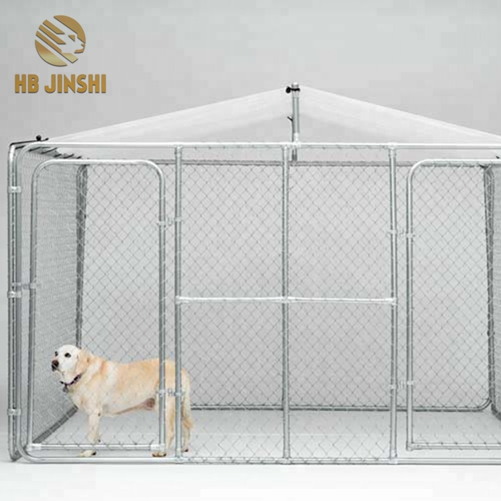 7.5ftx7.5ftx4ft classic galvanized outdoor chain link dog kennel run cage