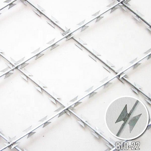 75*150mm Galvanized Welded Razor Wire Diamond Mesh
