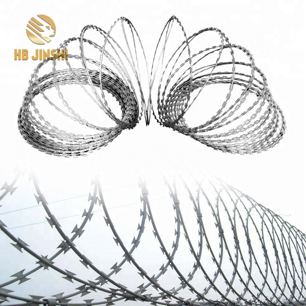 High Zinc Concertina Razor Barbed Wire Tape BTO-22 Prison Fencing Wire Tape