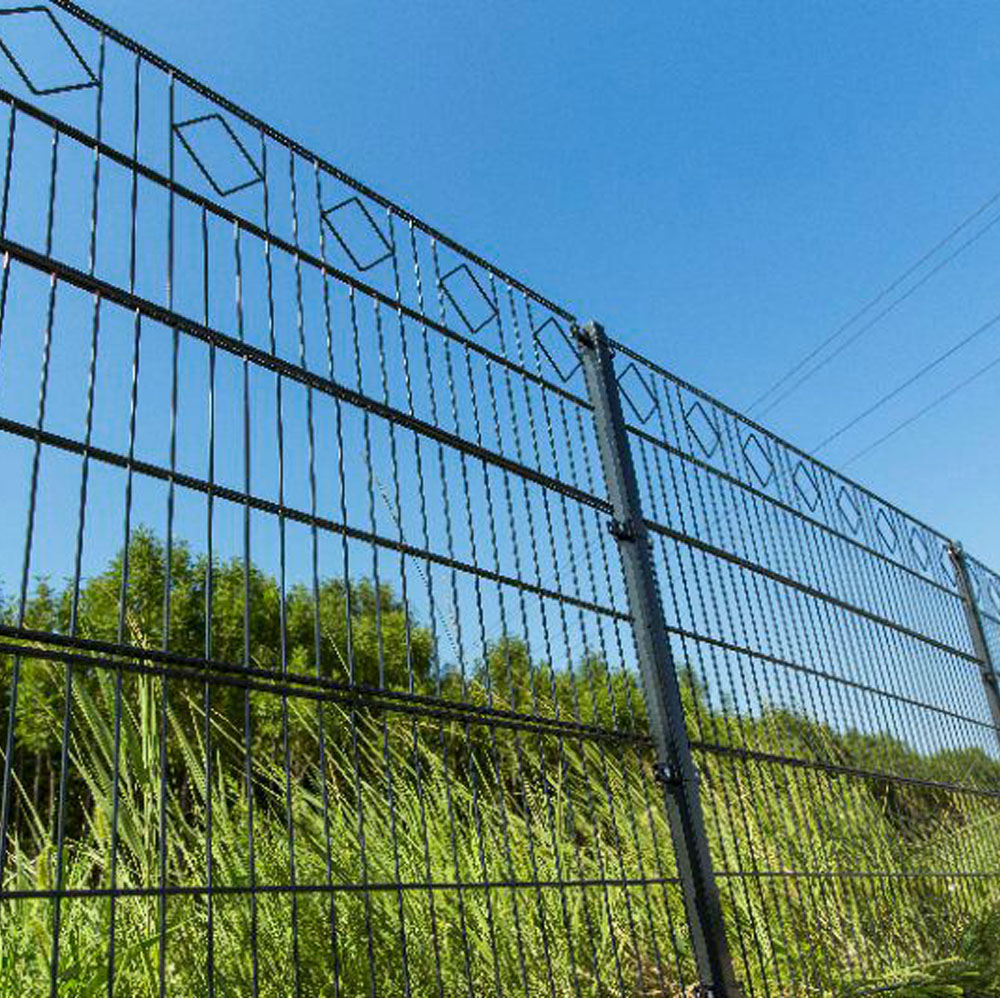 Green Powder Coated 868 Double Wire Welded Mesh Fence Panels