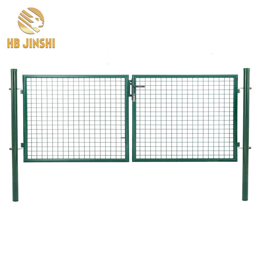 Hot Sale Flexible Opening Angle Green Powder Coated Double Garden Gate
