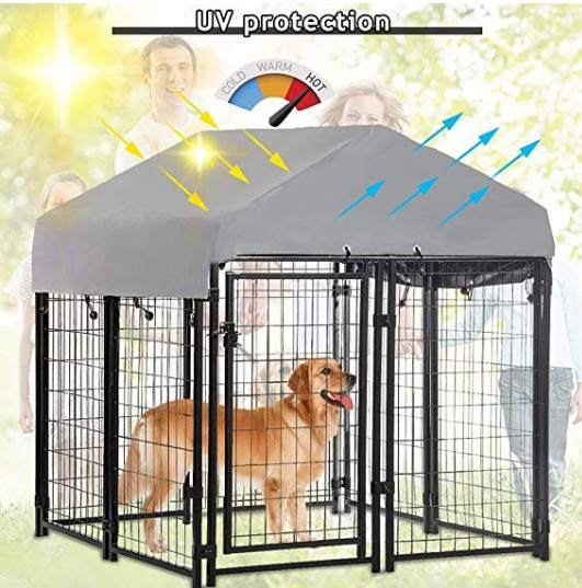 Welded Wire Dog Kennel Dog Crates Cage Metal Heavy Duty Outdoor Indoor Pet Playpen with a Roof and Water-Resistant Cover