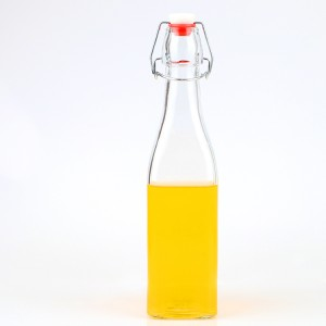 Square Juice Glass Bottle with Swing Top Clip Ceramic Lid