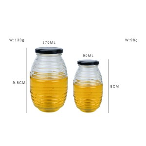 Transparent Round Glass Threaded Honey Jar with Tin Lid
