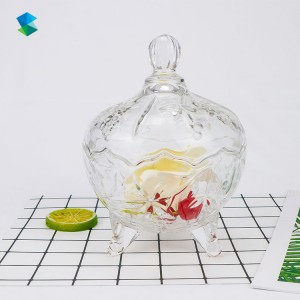 Crystal Candy Jar with Lid, Clear Glass Food Storage Tank, Seasoning Pot, Creative Decoration Storage Box