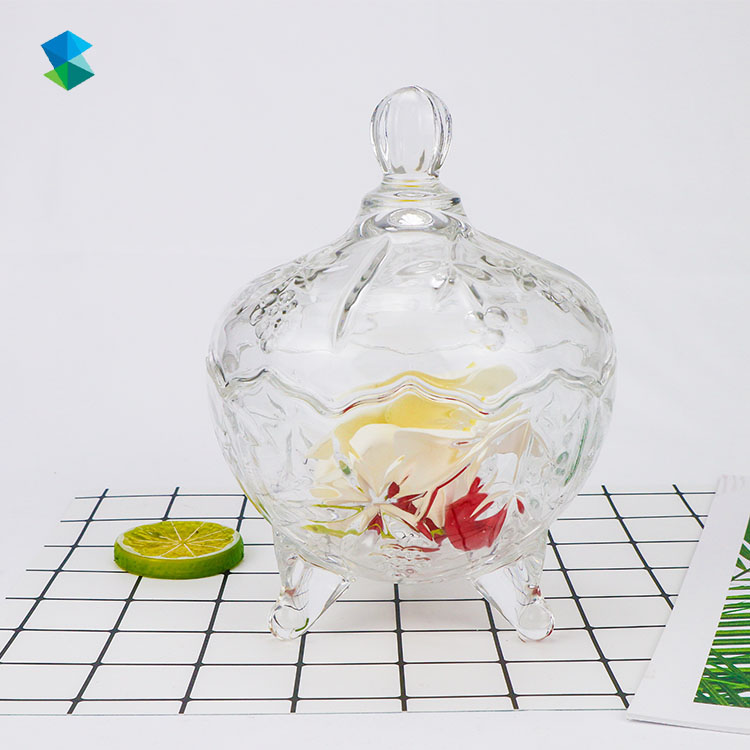Crystal Candy Jar with Lid, Clear Glass Food Storage Tank, Seasoning Pot, Creative Decoration Storage Box Featured Image
