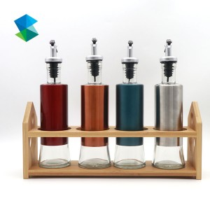 Cooking Oil sauce glass Bottles with pour spout and stainless steel shell