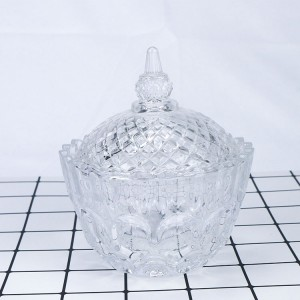 water ripple clear glass candy jar with lid