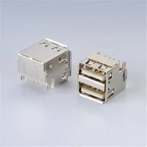 USB 2.0 A-Type Female 90°DIP Sink and Double Layer