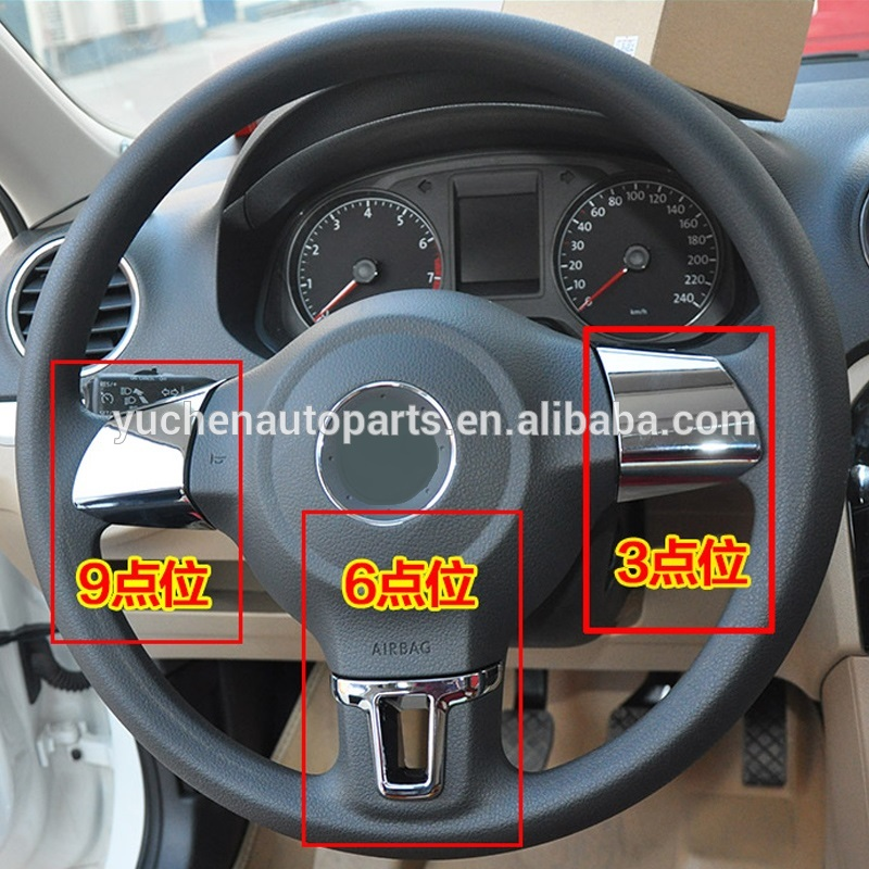 ABS Chrome Steering Wheel Sequins Cover For VW Golf 5 Golf 6 Polo Jetta 2013 New Bora
