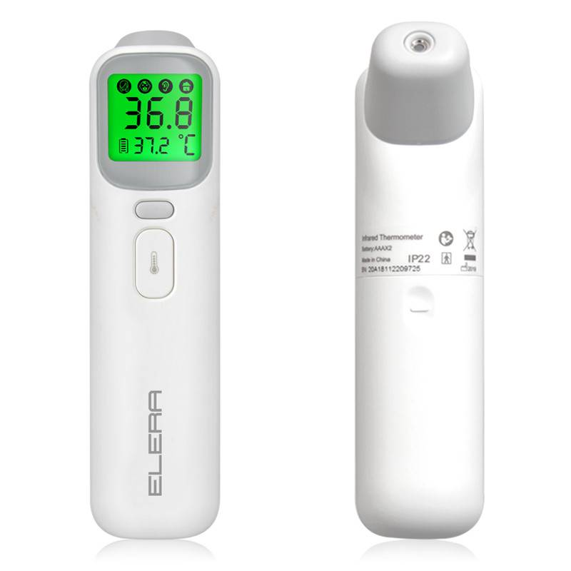 Baby Ear Forehead Digital Thermometer, ELERA Digital New 2020 Infrared Thermometer with 4 Backlight Mode and Heat Warning, FDA and CE Approved, with Drawstring Bag, Care Health Status of Infants and Toddlers and Adults at any Time. (White) Featured Image