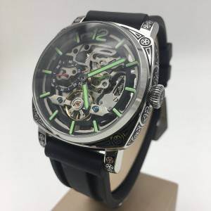 Panerai type engraved tatto man skeleton automatic watch