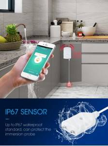 Water pipe leak detection equipment 130db alarm water overflow alarm with smart phone wifi tuya water leak detection