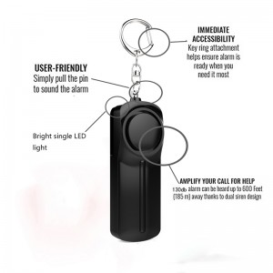 Personal security device manufacturer AAA battery 130db women self defense personal alarm keychain