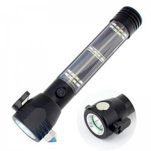 Car solar rechargeable lithium battery led torch emergency glass breaking escape tool hammer