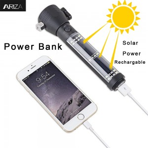 super bright solar rechargeable Tactical portable mini aluminum led torch flashlights